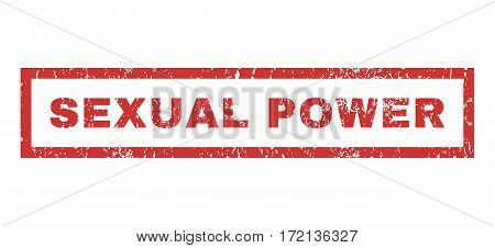 Sexual Power text rubber seal stamp watermark. Tag inside rectangular banner with grunge design and dust texture. Horizontal vector red ink emblem on a white background.