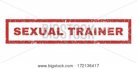 Sexual Trainer text rubber seal stamp watermark. Caption inside rectangular shape with grunge design and unclean texture. Horizontal vector red ink sticker on a white background.