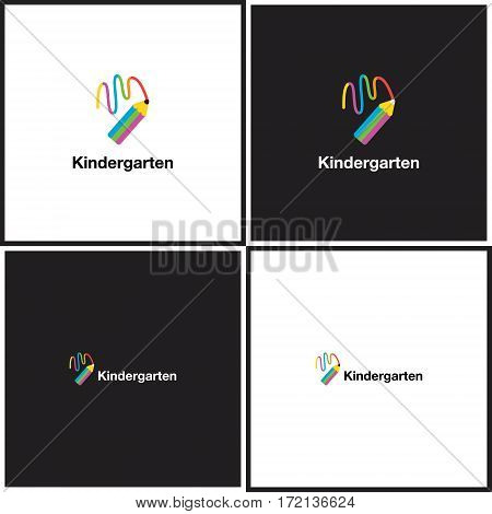 Vector eps logotype or illustration showing children education center with colorful pencil