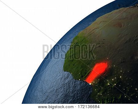 Benin In Red On Earth At Night