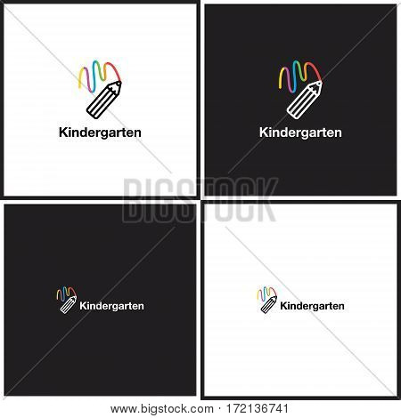 Vector eps logotype or illustration showing children education center with colorful pencil in outline style