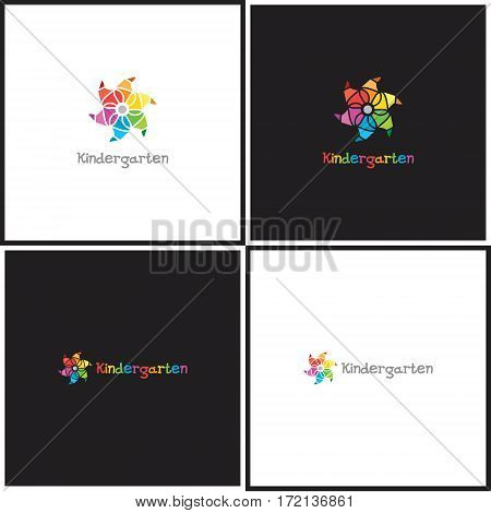 Vector eps logotype or illustration showing children education center with whirligig in outline style