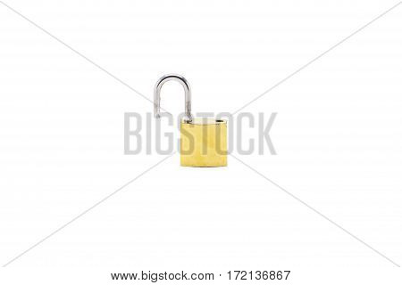 Old padlock with key on white background
