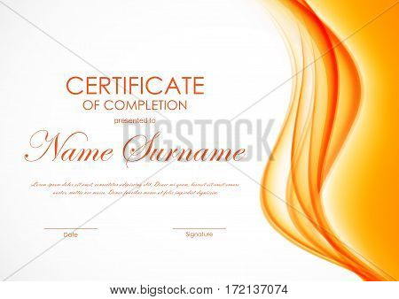 Certificate of completion template with orange bright soft swirl wavy background. Vector illustration