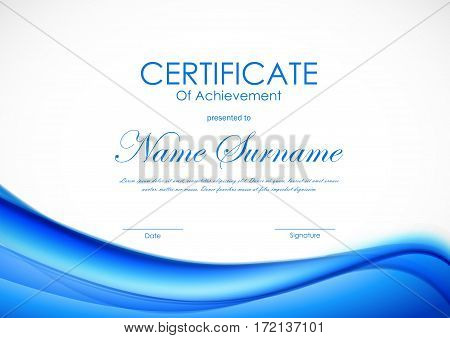 Certificate of achievement template with dynamic blue wavy soft shiny background. Vector illustration