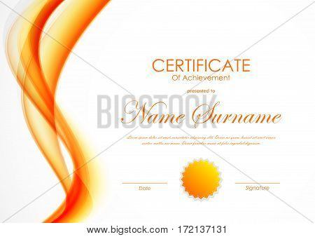 Certificate of achievement template with orange shiny curved soft wavy background and seal. Vector illustration