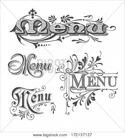 Set of Menu headlines. Set of typographic Menu headlines.