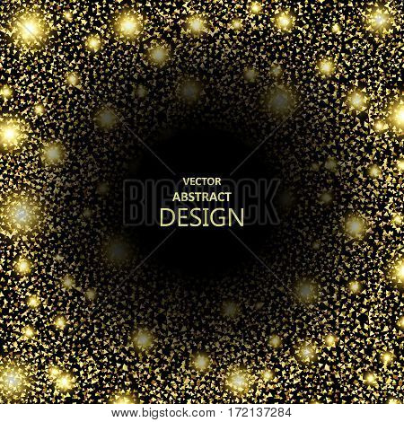 Abstract background from the shining gold particles on a black background. Dark chasm. Space black hole. Futuristic concept. Vector illustration.