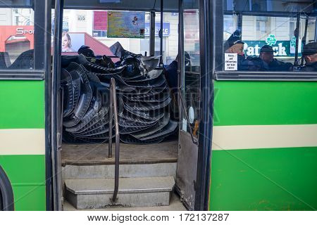 Kharkiv Ukraine - May 03 2014:Police in moving by public bus after the Maidan facts