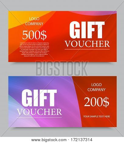 Gift company voucher template on five and two hundred dollars with colorful light pattern. Vector illustration