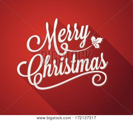 Merry Christmas Calligraphic Red Background with Xmas design element