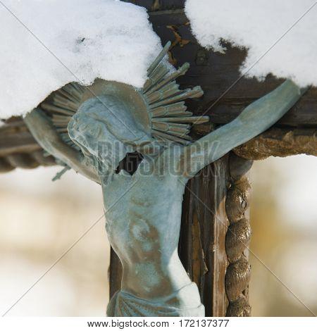 Jesus Christ crucified (an ancient wooden sculpture) (details)