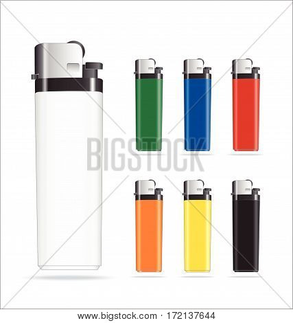 Set of Colorful Plastic Promotional Lighters. Set of seven different colors.