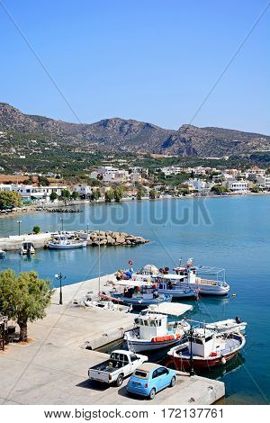 MAKRIGIALOS, CRETE - SEPTEMBER 18, 2016 - Elevated view of the harbour and beach with views towards the mountains Makrigialos Crete Greece Europe, September 18, 2016.