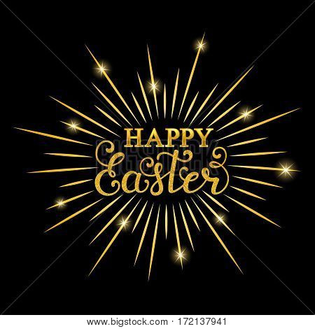 Happy Easter inscription with gold rays on black background. Calligraphy font style. Vector illustration.