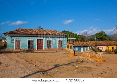 Trinidad Cuba - January 29 2017:The typical old colonial square in Trinidad Cuba. (UNESCO World Heritage)