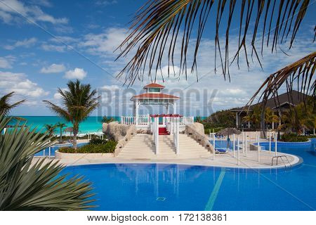 Santa Maria Cuba - January 31 2017: Swimming pool in Hotel Gaviota Cayo Santa Maria.Cuba main industry has become travel and tourism.