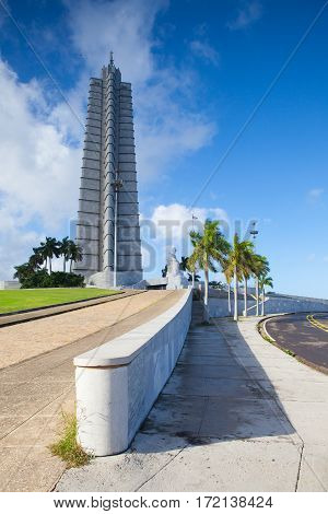 Havana Cuba - January 22 2017: Jose Marti monument on Revolution square. It is 109 m high and is one of the tallest buildings in Cuba.