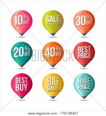 Set of Sale Stickers Fine Colors. Promotional.