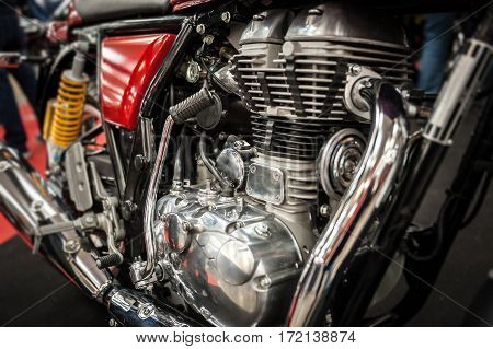 Closeup of a powerful vintage motorbike engine
