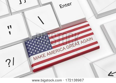 Computer Keyboard Political News Concept: Make America Great Again Key As A Hot Button 3d illustration