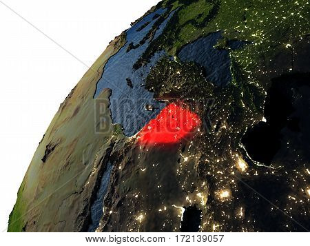 Syria In Red On Earth At Night