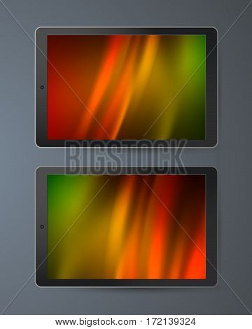 Realistic Monitor Tablets and Smartphone with Wallpaper Screen Isolated On gray Background. Can Use for Template Presentation. Gadgets Device Set Mock Up. Vector Illustration EPS 10