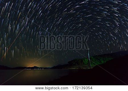 Nice star trails in the night time