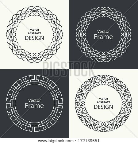 Set of monogram line vintage frames. Greeting cards. Wedding invitations. Retro style. Vector logo template labels and badges