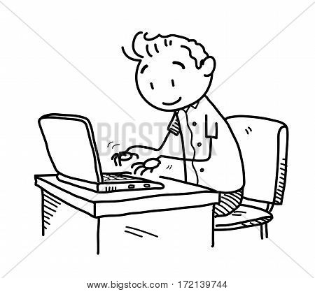 Browsing the Internet Doodle, A hand drawn vector doodle illustration of a stick figure surfing the web using his laptop.
