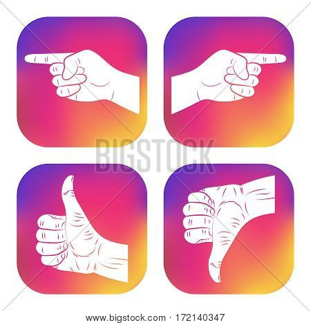 Set of icons with hands. New design for applications web social networks. Thumbs up. Like. Dislike. Good. Ok. Pointing finger icon. Navigation direction follow sign