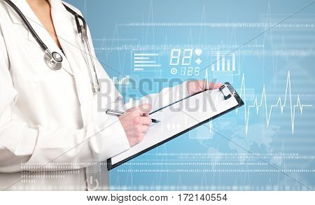Female doctor holding notepad with blue background and heart related charts