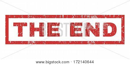 The End text rubber seal stamp watermark. Caption inside rectangular banner with grunge design and dust texture. Horizontal vector red ink sticker on a white background.