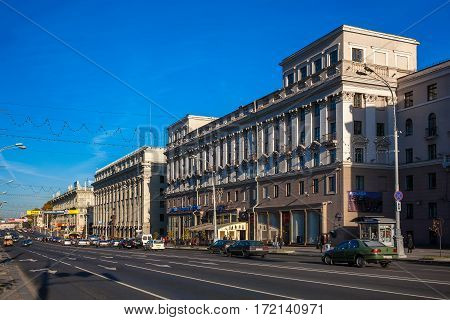 Minsk Belarus traffic on Independence Avenue October 10 2010 urban architecture editorial