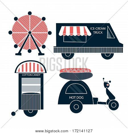 Circus food truck ice-cream, circus collection with carnival, fun fair