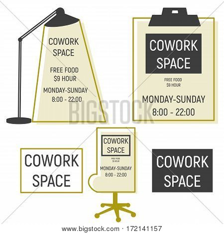 Co work space logotype with lamp, chair