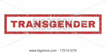 Transgender text rubber seal stamp watermark. Caption inside rectangular banner with grunge design and dirty texture. Horizontal vector red ink sign on a white background.