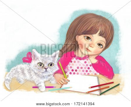 Illustration of a cute little girl with a cat. Artist girl begins to paint pencils in album. character design. Girl and Cat are going to paint.