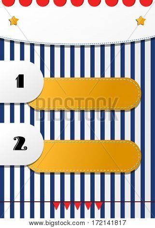 Fun two numbered positions list vector design for kids. Circus or fair or festival striped colorful empty flyer template. Blank festive agenda background