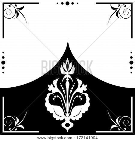 vector folk stylized floral frame in black and white color
