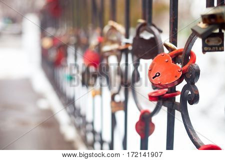 Many Love Padlocks, Heart Shaped, Close Up On A Blurred Background