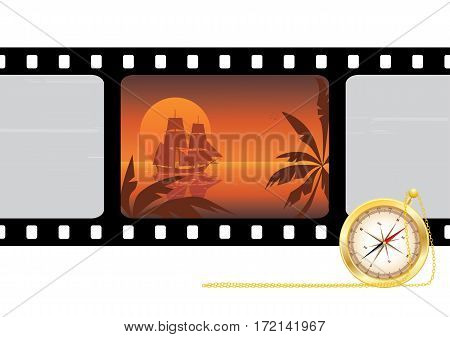 travel vector film strip background with tallship and compass (EPS 10)