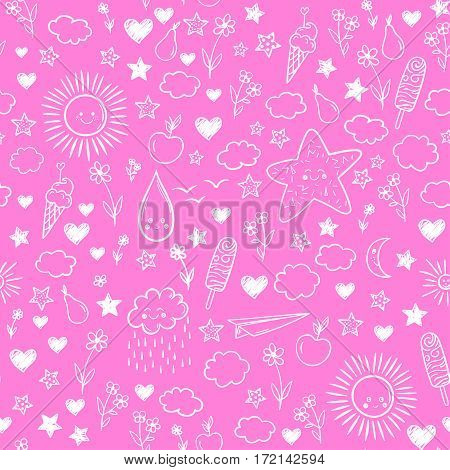 Seamless Pattern With Cloud, Ice-cream, Flowers, Sun, Star. Vector Cartoon Kids Background. Doodle D