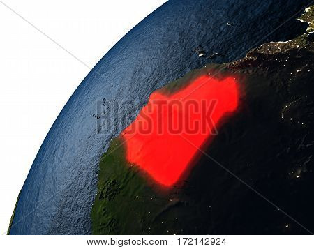 Mauritania In Red On Earth At Night