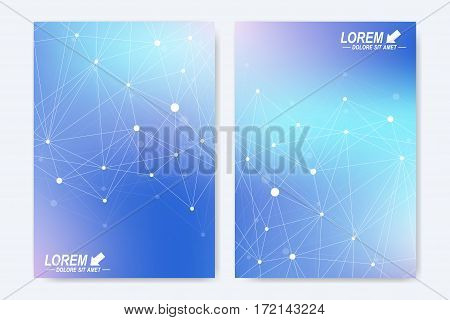 Vector template for brochure, Leaflet, flyer, advert, cover, catalog, magazine or annual report. Geometric background molecule and communication. Colorful cybernetic dots. Lines plexus. Card surface
