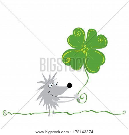 cheerful hedgehog with four-leaf clover is walking across the lawn / most successful day