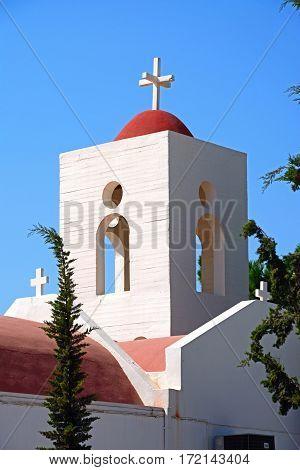 Traditional whitewashed Greek church Makrigialos Crete Greece Europe.