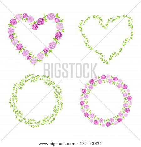 Handdrawn Border, Wreath, Garland Set With Flower For Women's Day And Wedding Greeting Cards, Poster