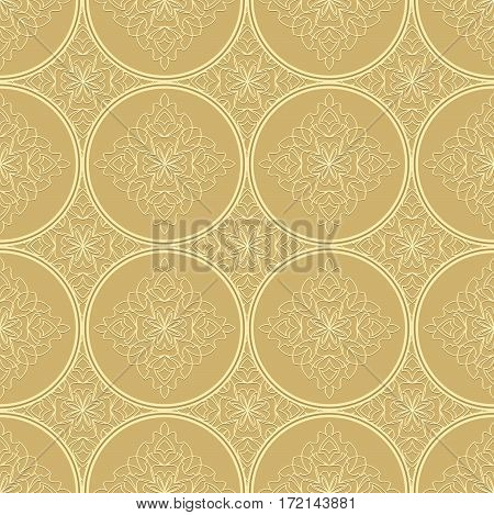 Low contrasting beige seamless background tile with filigree ornament. Vintage fabric style in damask design vector EPS10