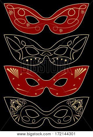 Carnival masks template set of four graphic concepts vector EPS10